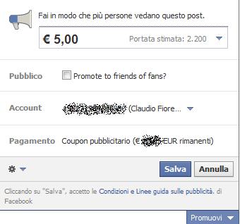 facebook promuovi