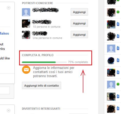 completa profilo googleplus