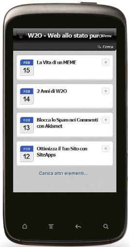 w2o visualizzazione mobile